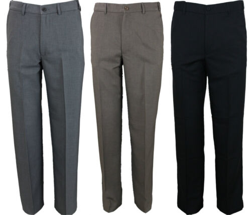 "Mens Farah Trouser Flat Front Flexible Waist in 3 Colours 30 to 64 Big Waists <br/> 30 TO 64   ADJUSTABLE FLEXI WAIST* 27"" 29""31""33"" LEG"