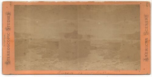 Niagara Falls by Moonlight, Frozen Over! Antique New York Stereoview Card