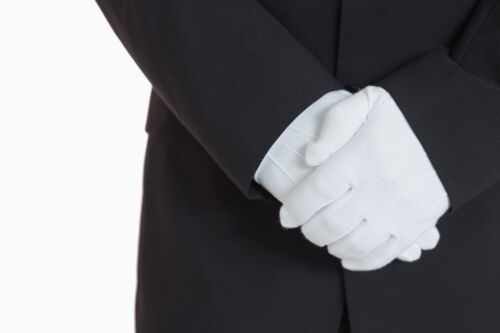 Men's White Formal Dress Gloves Tuxedo Band Marching Parade Stretch Nylon New