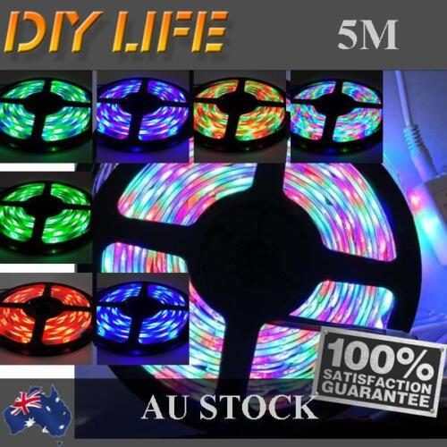 3528 RGB 5M 300 LEDS SMD LED Strip Light 12V Waterproof + IR Controller <br/> 12V strip + controller, power supply not included!!