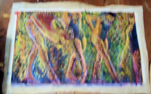 """""""DANCERS"""" by Ruth Freeman ACRYLIC ON UN STRETCHED CANVAS 18"""" X 30"""""""