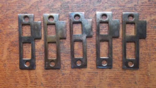 Five New Brass Plated Door Jamb Strike Plates - Antiqued Patina