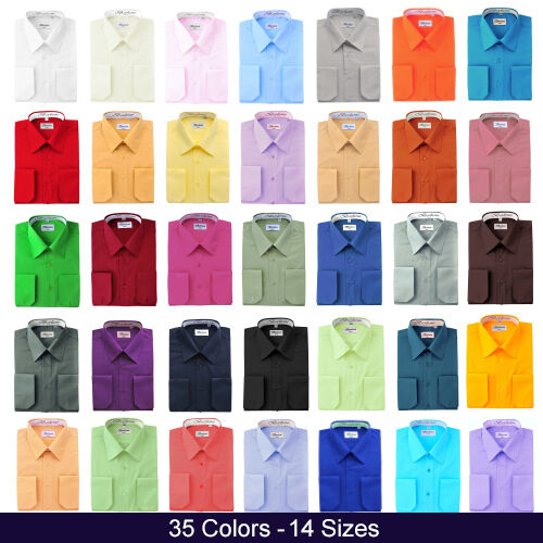 Berlioni Italy Mens Dress Shirt French Convertible Cuff Solid 17 Colors 12 Sizes <br/> Authorized Distributor - Ships in 1 Business Day.