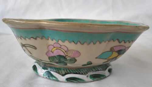 19th c. Chinese Tongzhi  Hexagonal Bowl Turquoise Interior. Seal on bottom