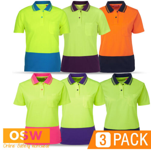 3 X HI VIS WOMENS LADIES BUILDER TRADIES COOL DRY BREATHABLE S/S SAFETY POLOS
