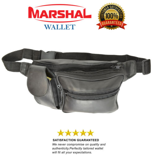 Black Solid Leather Fanny Pack 5 Pocket Travel Waist Belt Bag Cell Phone Holder