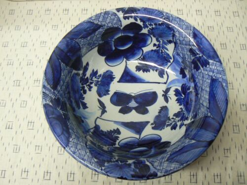 JA 127 Japanese Blue and White Import Bowl 1920's Butterfly Design