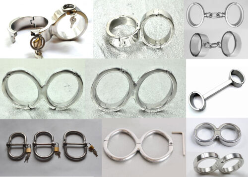 Stainless Steel Bondage Shackles-Small/Large - Metal Wristcuffs Handcuffs Secure