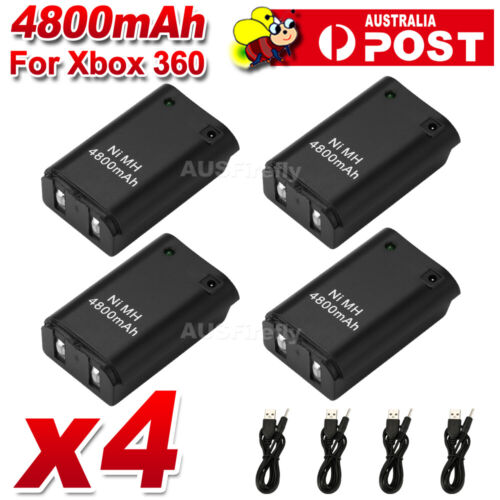 4x Charger USB Cable For XBOX 360 Battery Pack Rechargeable Wireless Controller