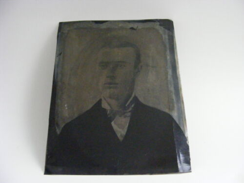 Large Antique Tintype Photograph Of Man