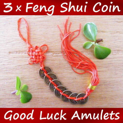 Chinese Feng Shui Protection Fortune Lucky Charm Red Tassel String Tied Coins UK