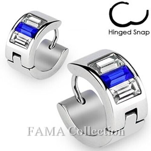 Stylish FAMA Stainless Steel Hoop Earrings with Emerald Cut Blue and Clear CZs