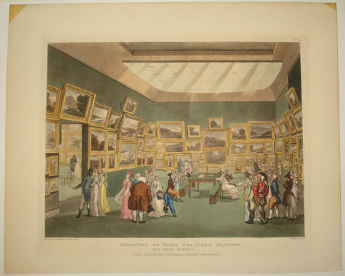 stampa antica old print mostra acquerelli old bond street london exhibition 1808