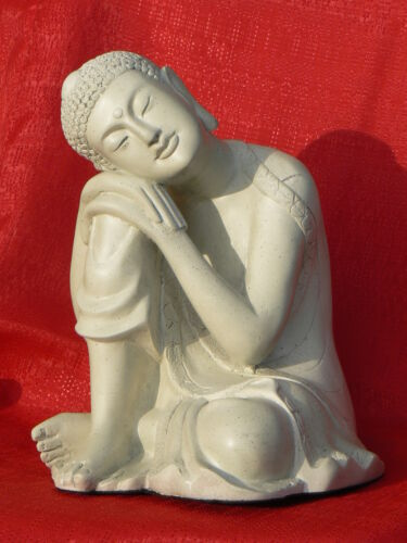 Modern Resting Buddha Statue - Sandstone Finish - Magnesium Composite Resin