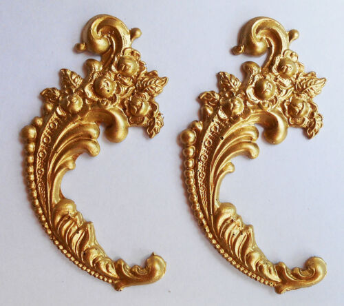 Faux ormolu.Ornament (#135) Set of 2. Furniture decoration.Antique reproduction