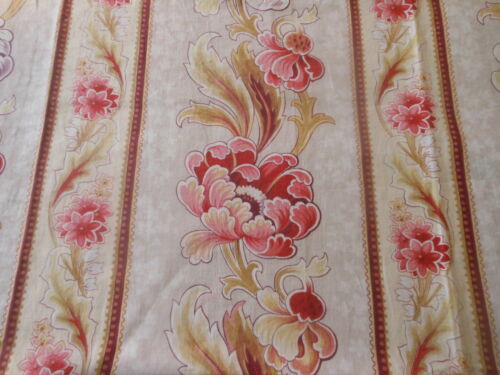 Antique French Poppy Floral Cotton Fabric ~ Red Pink Olive