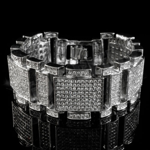 14k White Gold Plated Iced Out Simulated Diamonds Silver Mens Hip Hop Bracelet