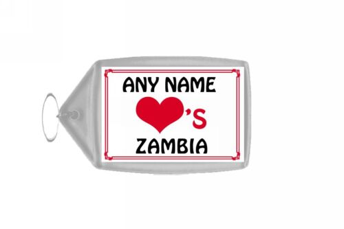 Love Heart Zambia Personalised Keyring