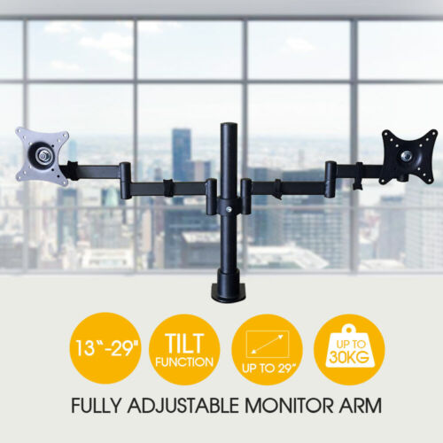Dual Hand Desk Monitor Stand Mount Bracket LED 2 Arms Holds Two LCD Screen TV AU