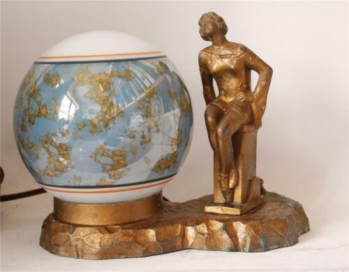 Art Deco Vintage Figural Bronzed Metal Desk or Budoir Lamp c. 1920s
