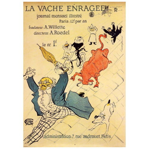 la vache enragee the mad cow by toulouse lautrec deco magnet 1897 mini gift. Black Bedroom Furniture Sets. Home Design Ideas