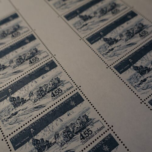 FEUILLE SHEET TAAF PA N°71 x10 TRAÎNEAU A CHIENS 1982 NEUF ** LUXE MNH