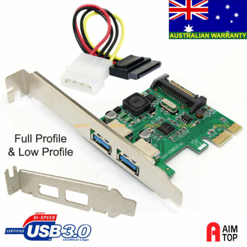 Full & Low Profile USB 3.0 2-Port PCI-E Card with Over Current Protection