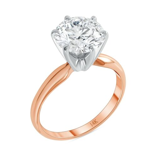 3 Ct Round Cut Solitaire Engagement Wedding Ring Solid 14K Rose Pink Gold