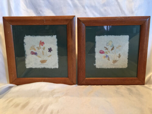 BEAUTIFUL MADAGASCAR WILD FLOWERS WALL ART CRAFTED 1992 ARTIST SIGNED WOOD FRAME