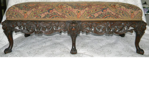 Antique BED BENCH Hand Carved SOLID WOOD circa 1800's GORGEOUS VERY LARGE Long