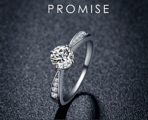 925 Sterling Silver 1.0 Ct Cubic Zirconia Engagement Promise Simulation Ring