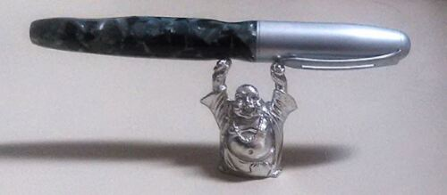 Laughing BUDDHA Silver Plated Pen Holder Stand Display