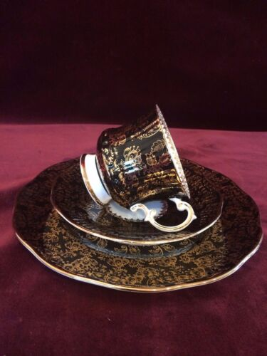 Beautiful Vintage Elizabethan Black and Gold Cup and Saucer Trio Set
