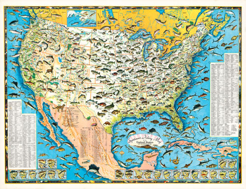 Sportsmen's Fishing Map of the United States 1957 75cm x 57.7cm Art Print