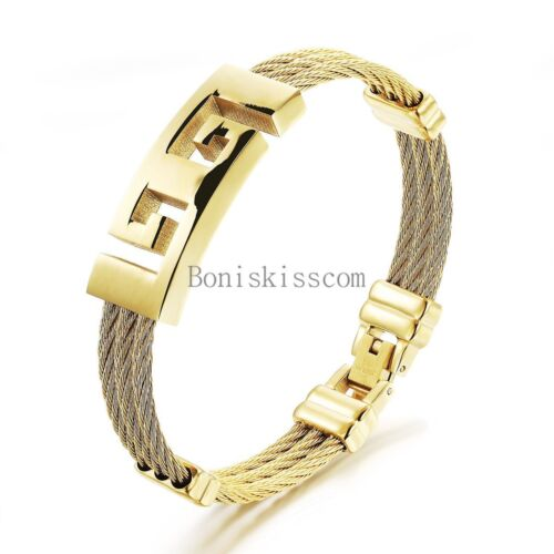 Men's Fashion Stainless Steel Yellow Gold Tone Cable Charm Bracelet Bangle