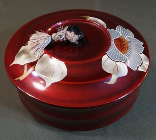 Beautiful Japanese Lacquer Tea Cookie Box Lid with Flowers