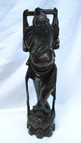 Antique Chinese Carved Hard Wood  Figure W/ Silver Metal Inlay