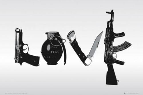 STEEZ LOVE WAR GUN KNIFE HAND GRENADE POSTER NEW 36x24 FREE SHIPPING