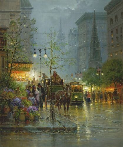 VENDORS ON FIFTH AVENUE by G. Harvey CANVAS GICLEE