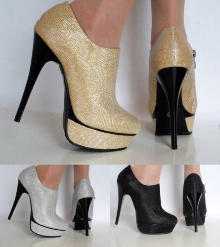 NEW Ladies Party Prom Evening High Stiletto Heel Platform Ankle Boots Shoes Size