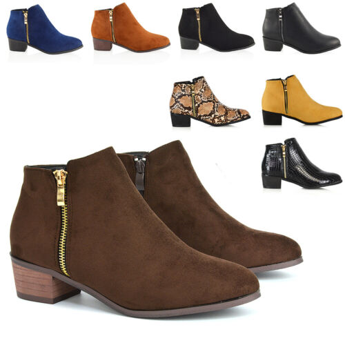 Womens Ladies Low Heel Block Cowboy Style Ladies Gold Zip Ankle Boots Shoes Size