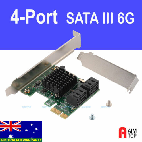PCI-e 4 Port SATA 3 III 6Gb Add-on Card Adapter for Windows PC