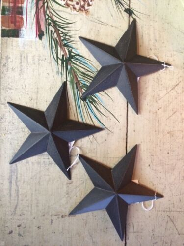 "Set/3 BLACK BARN STARS 5.5"" 5 1/2 PRIMITIVE RUSTIC COUNTRY FARMHOUSE METAL TIN"