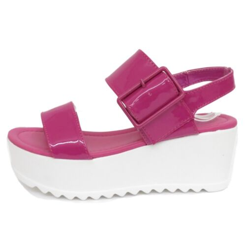 LADIES DOLCIS PINK FLAT-FORM PLATFORM CHUNKY SANDALS WEDGE SHOES SIZES 3-8
