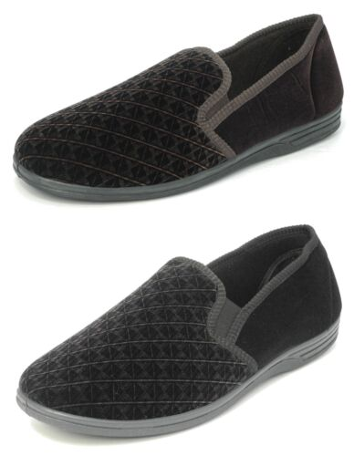 Mens Zedzzz Luxury Warm Comfort Velour Shoes Slippers Big Sizes Black Brown 6-16