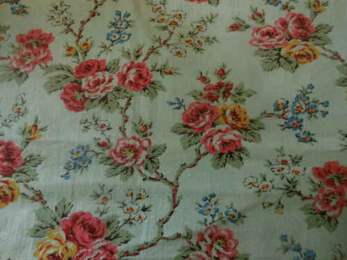 Antique Vintage French Shabby Cottage Aqua Turquoise Roses Floral Cotton Fabric