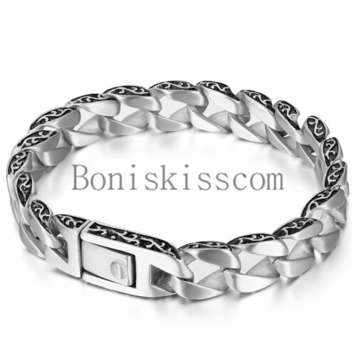 Men's Gothic Matte Silver Stainless Steel Chain Link Buckle Cuff Bangle Bracelet