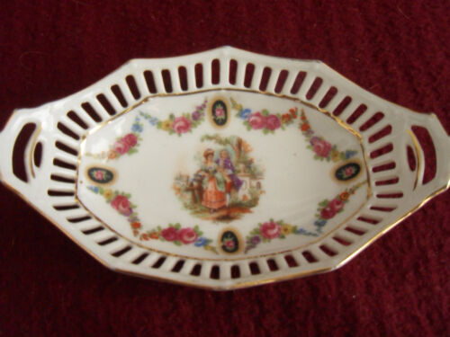 "BEAUTIFUL DECORATIVE  ANTIQUE PORCELAIN MINIATURE BOWL 5"" ACROSS - GERMANY"