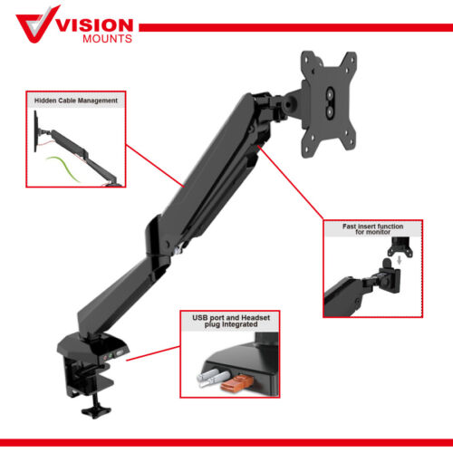 Monitor Stand Mount Arm Desk Clamp USB SETTING UP Gas Spring VM-LCD-GM212U-USB