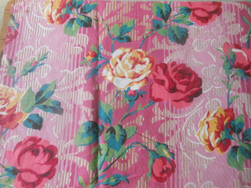 Antique Shabby Cottage Roses Scroll Fabric ~ deep pink green peacock blue